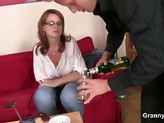 Boozed mommy acquires her old cum-hole pounded
