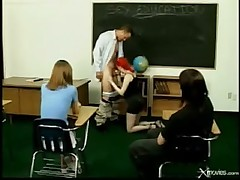 Classroom foursome with two young bitches  -