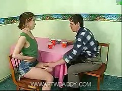 Dad fucked young teen daughter on table at home  -