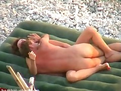 Young hot horny couple did it on the beach and everyone was  -