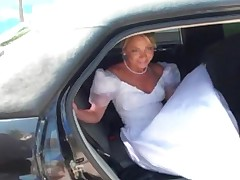 Bride fucked in a car  -