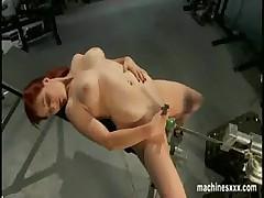 Busty redhead dildo machine  -