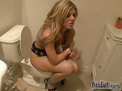 Bella lynn gets caught squatting on a toilet during a party  -
