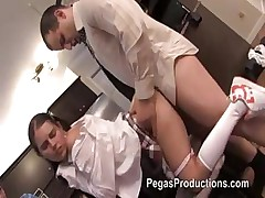 Sexy young brunette schoolgirl takes stepdaddy for a ride in the kitchen