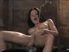 Tied legs brunette fucking with drill and squirts  -