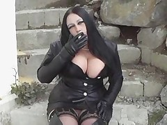 Hot Busty Leather Brunette Smoking BJ