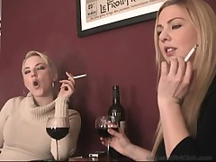 Babes in highheeled boots smoking  -