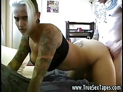 Amateur couple with tattoos make homemade movie