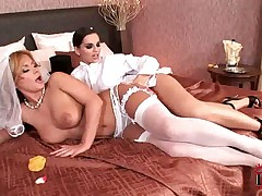 Sexy lesbian Eve Angel strap on fucking hot friend