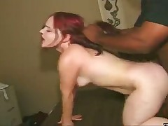 Redhead midget slammed by big black dong