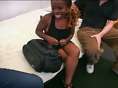 Naughty ebony midget milking huge boner for fun