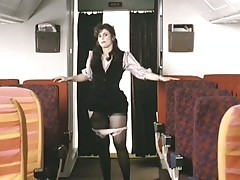 Sexy stewardess provides fucking service