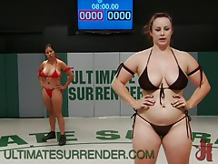 Busty Wrestling Action With Lesbian Babes