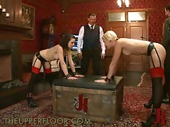 Blonde And Brunette Show Their Hot Asses As They Get Tortured