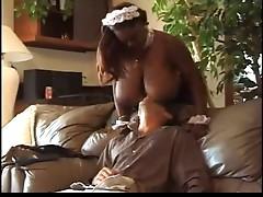 Ebony maid fucking with boss