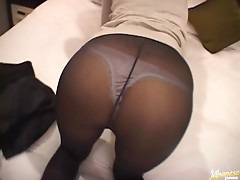 Slutty Asian Hottie Sucking Cock After Taking Her Pantyhose Off