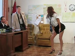 Horny Secretary Claudia Rossi Getting Double Penetrated By Her Bosses