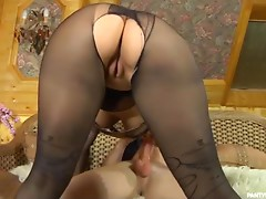 Horny Blonde Babe in Pantyhose Getting Her Shaved Cunt Drilled