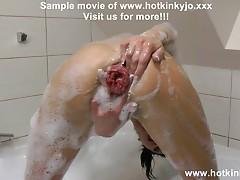 HOTKINKYJO PROLAPSE AND SELF ANAL FISTING BUBBLE BATH