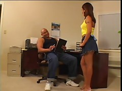 Hot dark girl fucks an older white guy