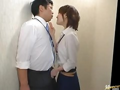 Horny Asian Secretary Giving a Great Blowjob In The Office