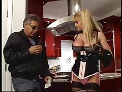 Blonde mistress fucks her slave by strapon