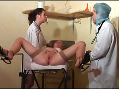 Lesbian patient in a threesome with doctors part 2