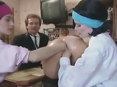 Very hot lesbian threesome fist fucks and more