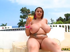 Terri is wrapped up in her sexy string lingerie like a beautiful gift. Shes enjoying her tropical cocktail while she opens her nipple coverings. What does Terri have in mind in this fresh XLGirls.com video? Find out now. You are in for a real treat. She w