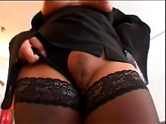 Mature with big tits in her stockings