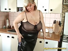 oiled monster boobs