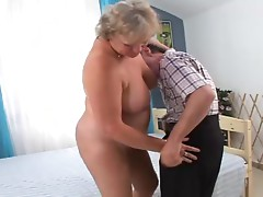 Horny blond grandma is riding grandpa's huge cock