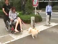 Orgasmic Wheelchair Dildo in Public