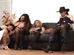 A Shemale Gangbang For A Slutty Mature Lady
