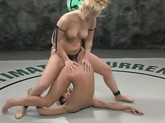Blonde And Brunette Go All Out In A Lesbian Wrestling Match