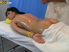 Oiled Up Fucking With A Hot Brunette As She Got A Massage