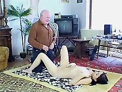 Slutty Brunette Teen Wanks and Sucks an Old Man's Cock