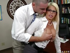 Blonde Librarian Brooke Haven Shushing People With Her Big Tits