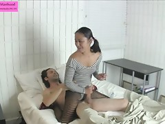 Cute Asian in Leotard and Tights Handjob w Threats Preview