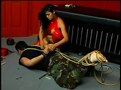 Dominant Asian Slut Mika Tan Pours Hot Wax On a Submissive Male's Body