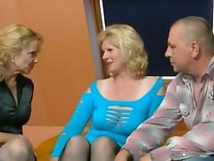 2 older german women and a guy having fun