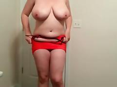 36 G saggy tits Lateshay red mini skirt whore