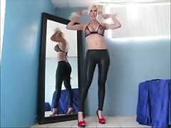 blonde joi cei lace up leggings