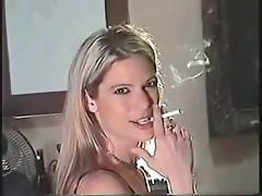 Blonde and Seductive Smoking