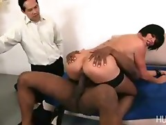 Cuckold hubby watches her take big black cock