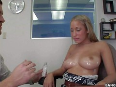 Topless newbie Laura Love gets her oiled up big tits