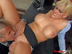 Big racked office blonde Eve Lawrence in short black skirt