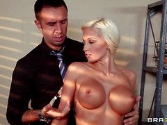 Waitress Rikki Six is too sexy because of her big