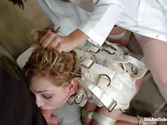 Cute blonde Lily LaBeau in strait jacket gets her throat