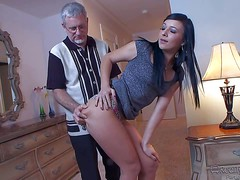Black haired cutie Ashli Orion takes off her dress and